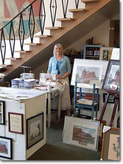 Nancy Asmus Fabric Artist in her former shop, @ the bank